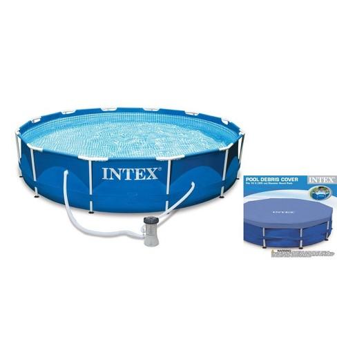 Intex 10ft x 30in Metal Frame Swimming Pool Set w/ Filter Pump & Debris Cover - image 1 of 4