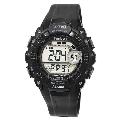 Men's Armitron Digital and Chronograph Sport Resin Strap Watch - Black