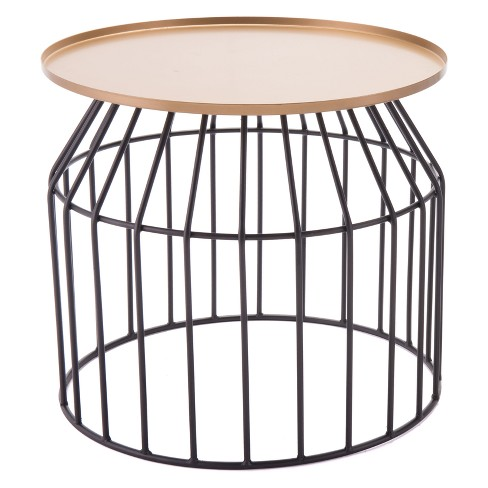 "20"" Steel Accent Table - Gold & Black - ZM Home - image 1 of 1"