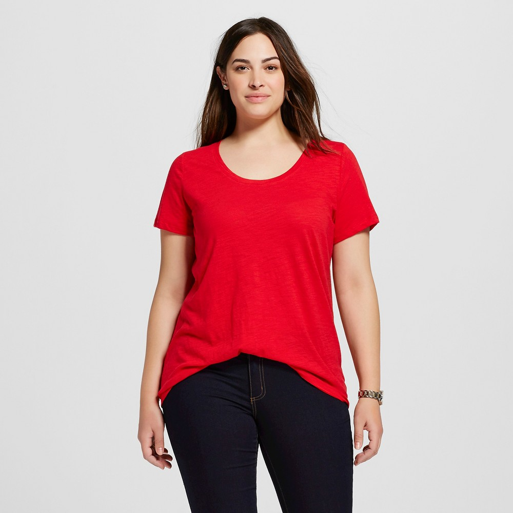 Women's Plus Size Scoop Neck T-Shirt - Ava & Viv - Really Red 4X