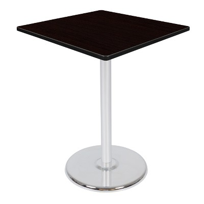 "36"" Via Cafe High Square Platter Base Bar Height Table Espresso/Chrome - Regency"