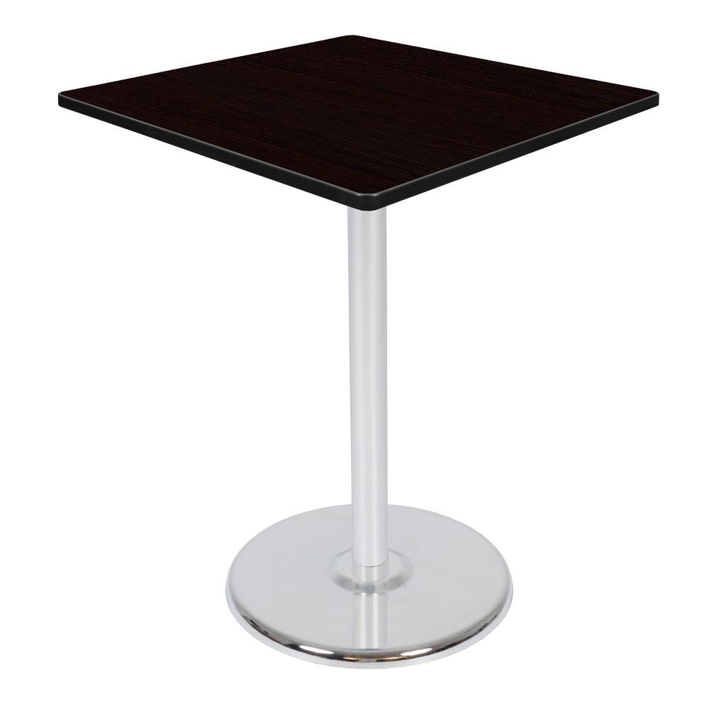 36 Via Cafe High Square Platter Base Table Espresso/Chrome (Brown/Grey) - Regency