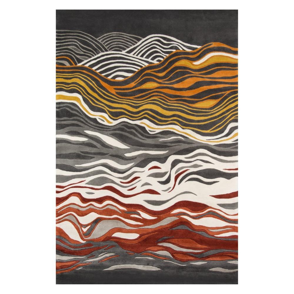 5'3X8' Wave Tufted Area Rug Gray - Momeni