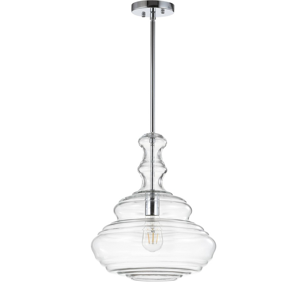 "Image of ""13.375"""" Bettina Glass/Metal LED Pendant Chrome (Includes Energy Efficient Light Bulb) - JONATHAN Y"""