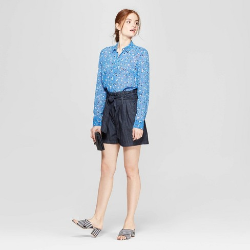 7f5df8346db26 Women s Floral Print Long Sleeve Crepe Blouse - A New Day™ Blue. Shop all A New  Day