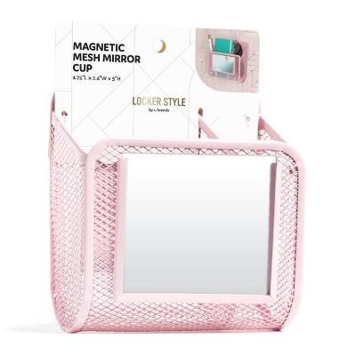 U Brands Magnetic Mesh Mirror Locker Cup - Pink