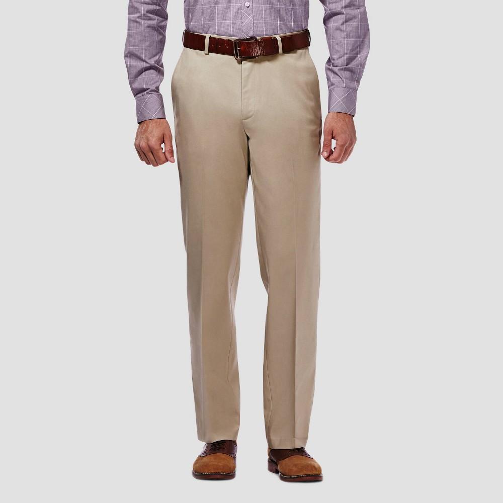 Haggar Men 39 S Premium No Iron Classic Fit Flat Front Casual Pants Khaki 32x32