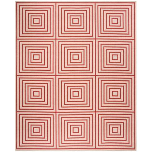 8 X10 Geometric Loomed Area Rug Red Cream Safavieh Target