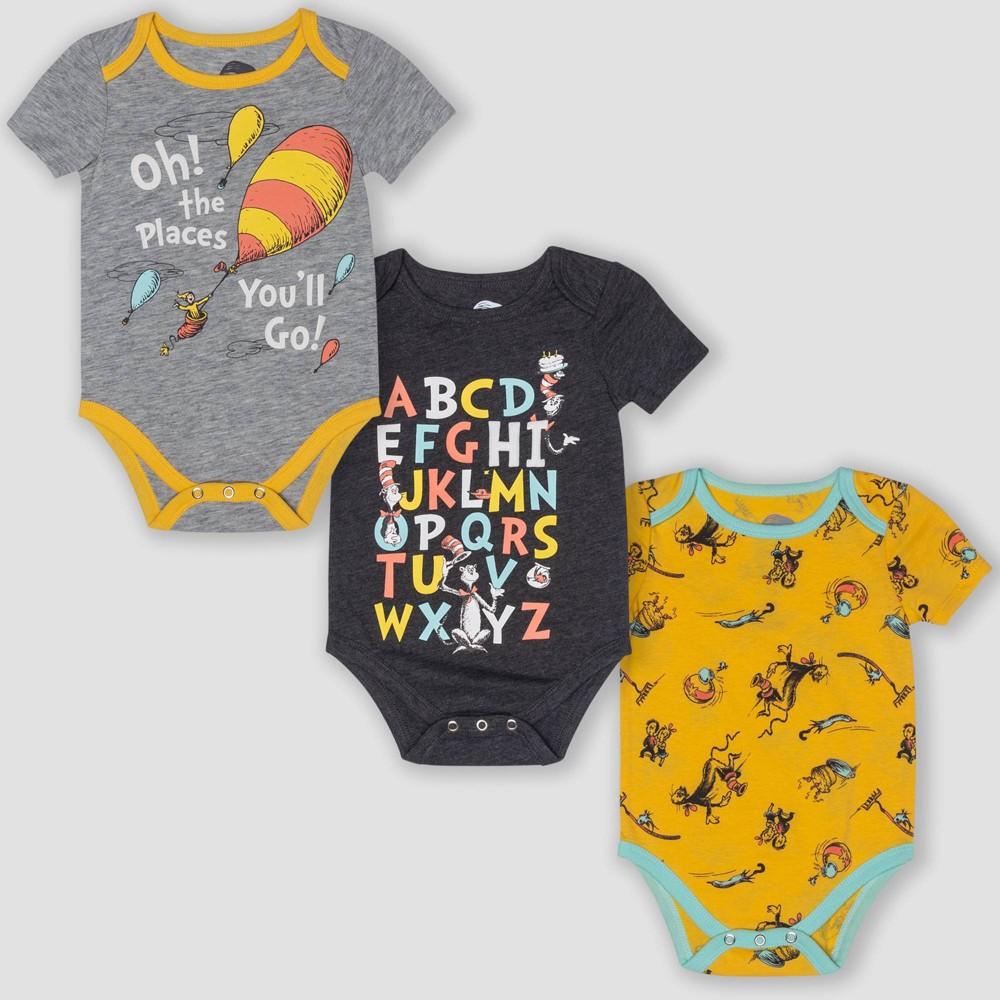 Image of petiteBaby 3pk Dr. Seuss Short Sleeve Bodysuits - Yellow/Gray 0-3M, Kids Unisex, Gray/Yellow