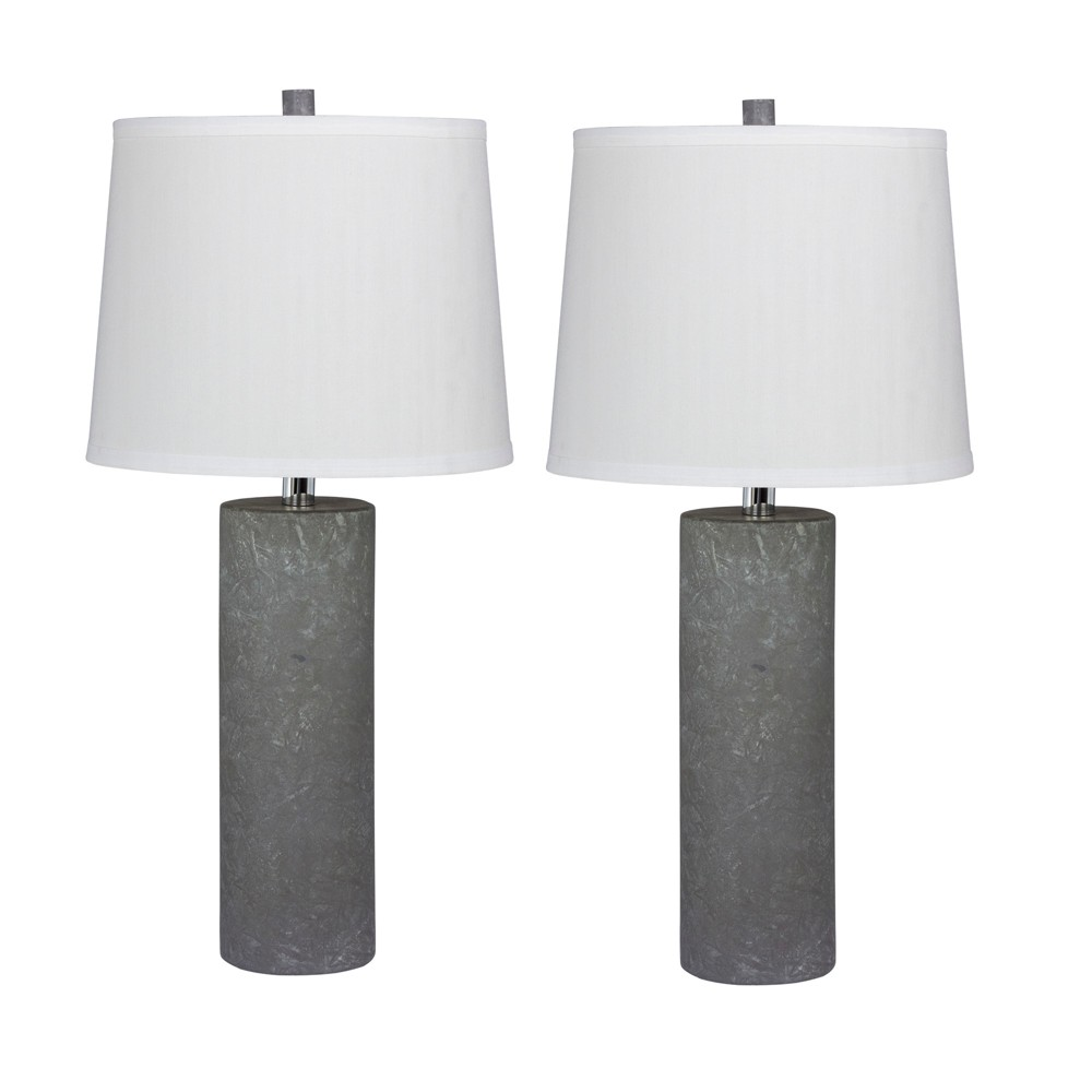 Image of 2pc Fangio Lighting Contemporary Column Ceramic Table Lamps Gray