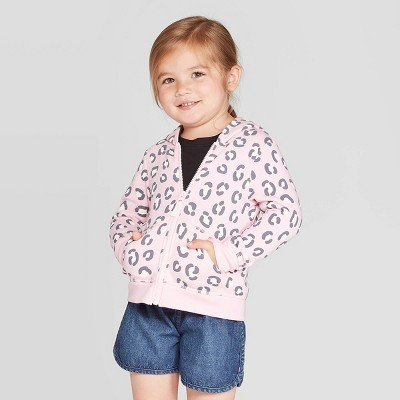 Toddler Girls' Animal Print Fleece Zip-Up Hoodie - Cat & Jack™ Pink 12M