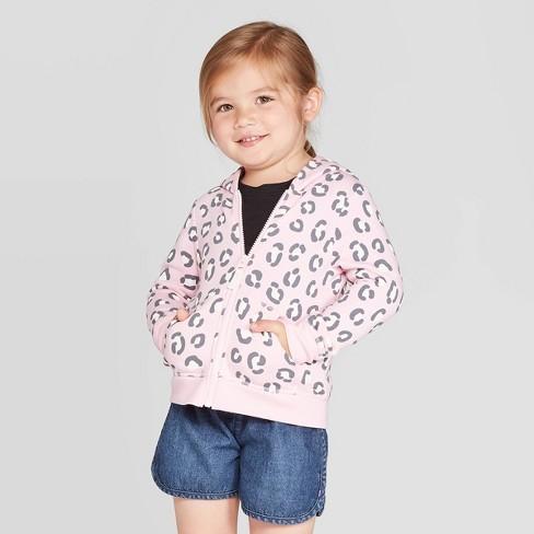 Toddler Girls' Animal Print Fleece Zip-Up Hoodie - Cat & Jack™ Pink - image 1 of 3
