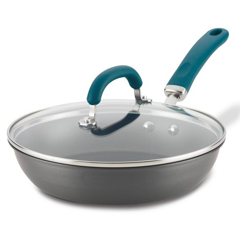 "Rachael Ray Create Delicious 10.25"" Hard Anodized Aluminum Nonstick Deep Fry Pan w/ Lid Teal Handles - image 1 of 4"