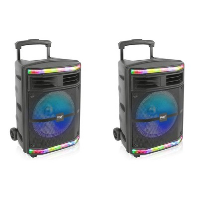 Pyle PPHP1044B 600 Watts Portable Indoor Outdoor Bluetooth Speaker System with Rechargeable Battery and Flashing Party Lights (2 Pack)