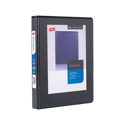 "Staples 1/2"" Standard 5-1/2"" x 8-1/2"" Mini View Binder with Round Rings Black 55394/26452"
