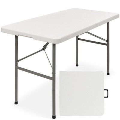Best Choice Products 4ft Plastic Folding Table, Indoor Outdoor Heavy Duty Portable w/ Handle, Lock for Picnic, Camping