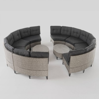 Navagio 10pc Wicker Sofa Set   Black/Dark Gray   Christopher Knight Home