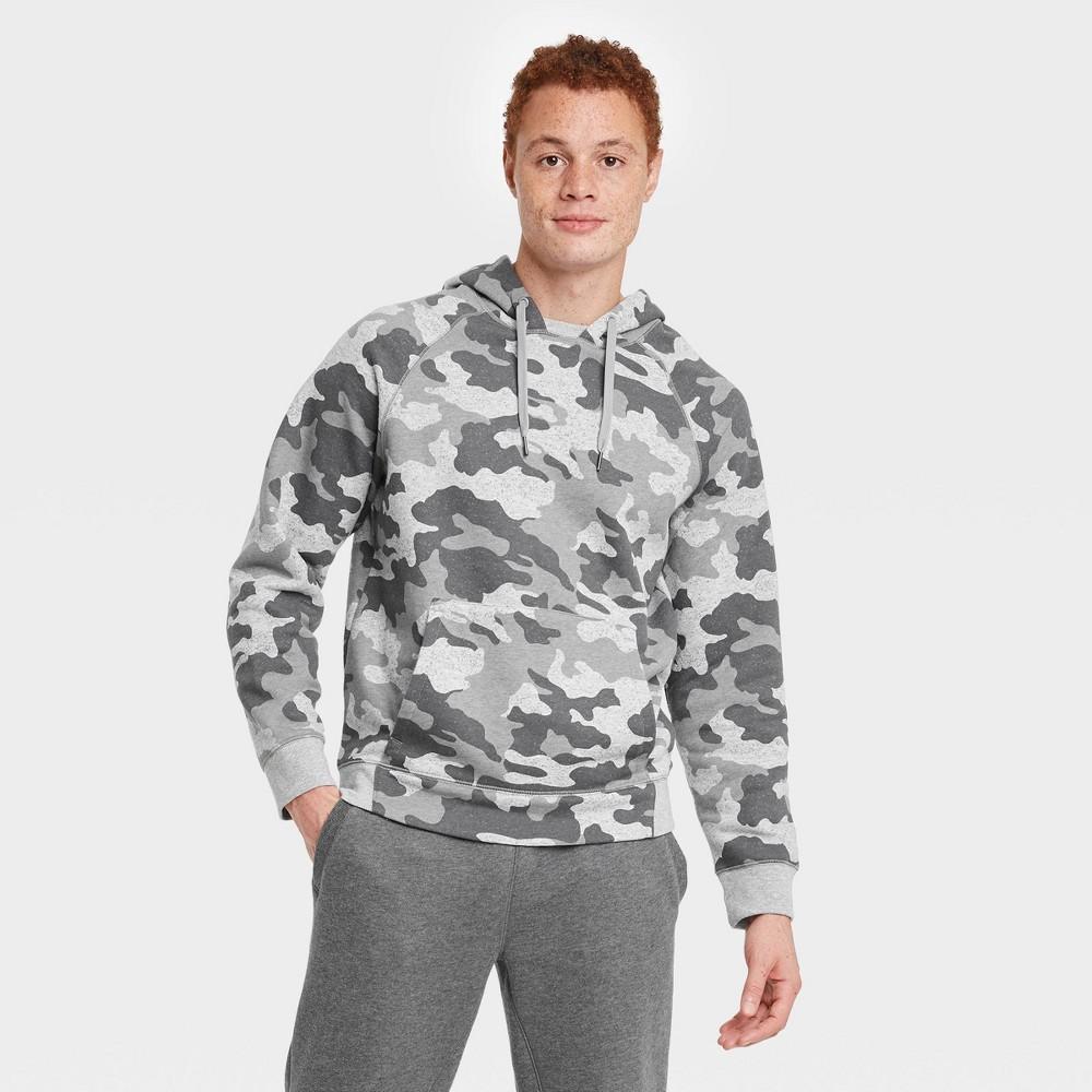 Men 39 S Fleece Camo Print Pullover Hoodie All In Motion 8482 Gray M