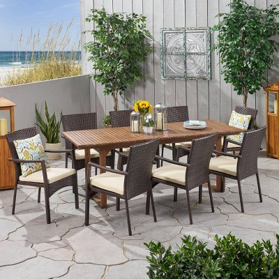 Villa 9pc Wood and Wicker Expandable Dining Set Brown and Cream - Christopher Knight Home