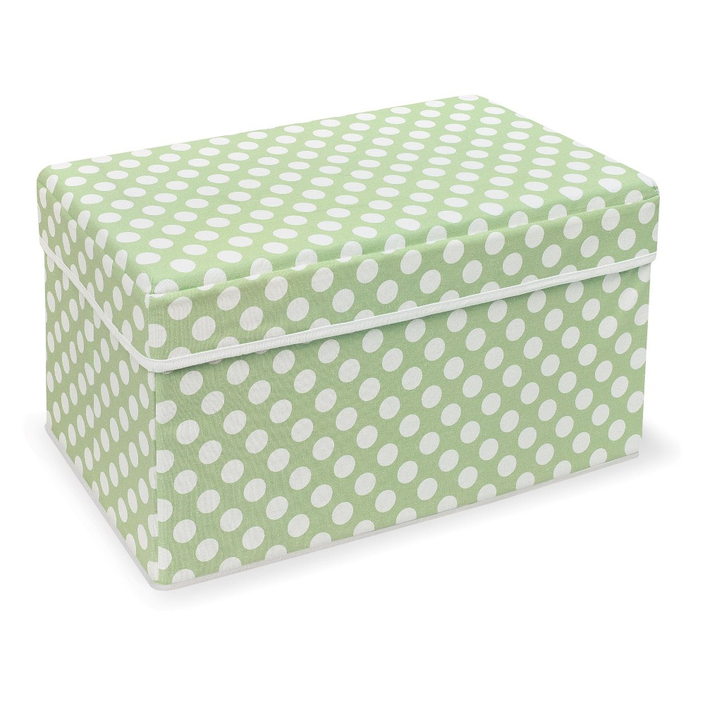 Image of Badger Basket Double Folding Storage Seat Green Polka Dot