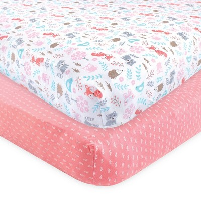 Hudson Baby Unisex Baby Cotton Fitted Crib Sheet - Woodland Fox One Size