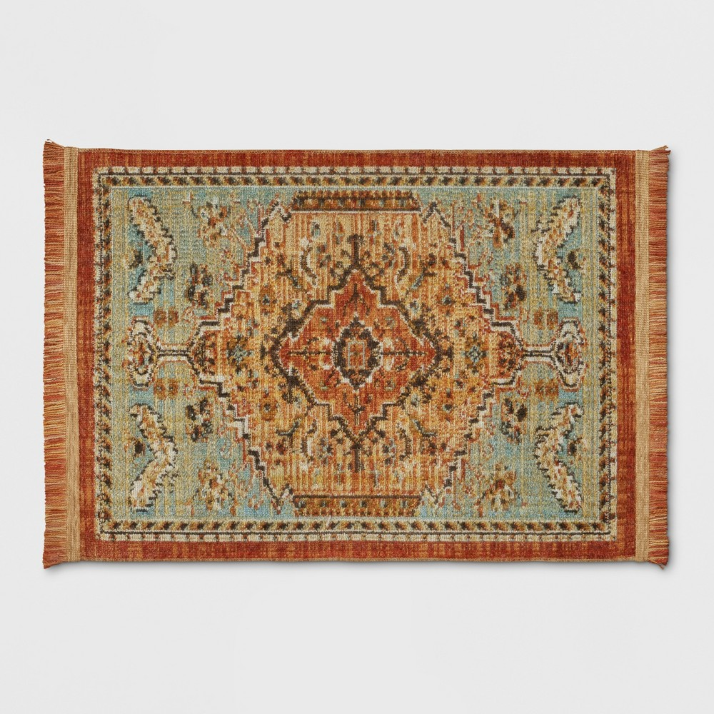 Spiced Green Floral Woven Accent Rug 2'X3' - Threshold