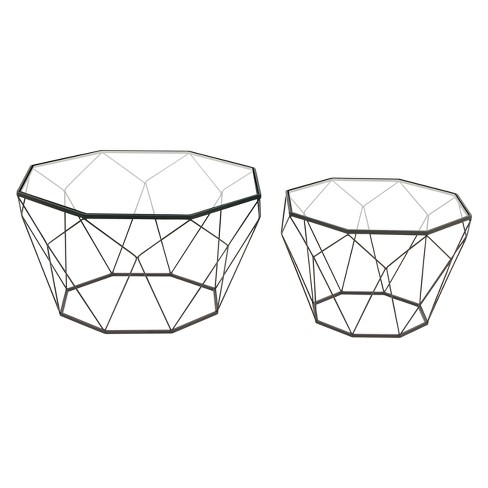 Metal and Glass (Set of 2) Accent Tables Black - Olivia & May - image 1 of 3
