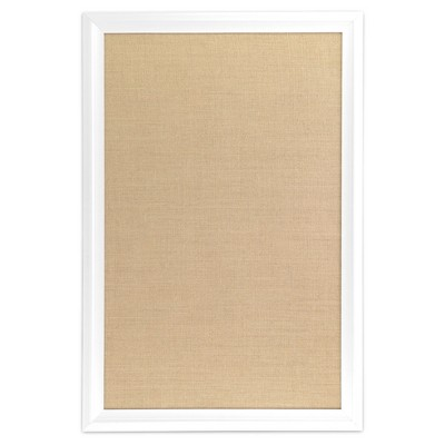 Ubrands White Wood Frame Burlap Bulletin Board - 20  x 30