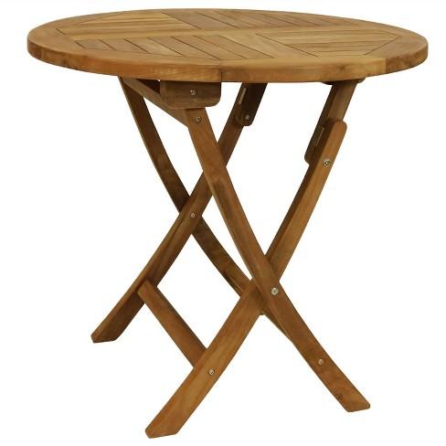32 Round Folding Solid Teak Wood Outdoor Dining Table Sunnydaze Decor Target
