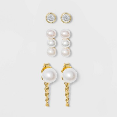 Sterling Silver with Clear Cubic Zirconia, Glass and Pearl  Post Stud Earring Set 3pc - A New Day™ Gold