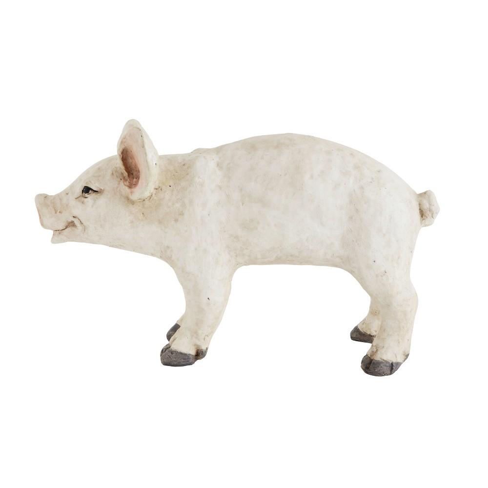 "Image of ""16.5"""" x 10"""" Decorative Resin Pig Figurine Cream (Ivory) - 3R Studios"""