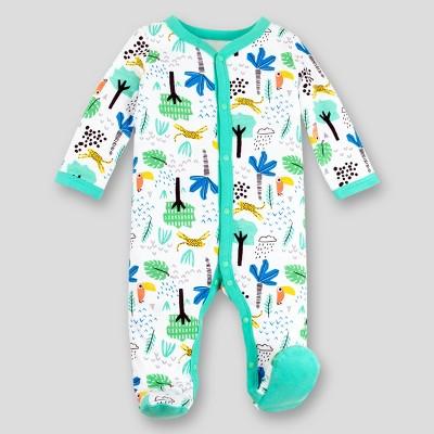 Lamaze Baby Boys' Organic Cotton Sleep 'N Play Safari Footed Sleepers - Green Newborn