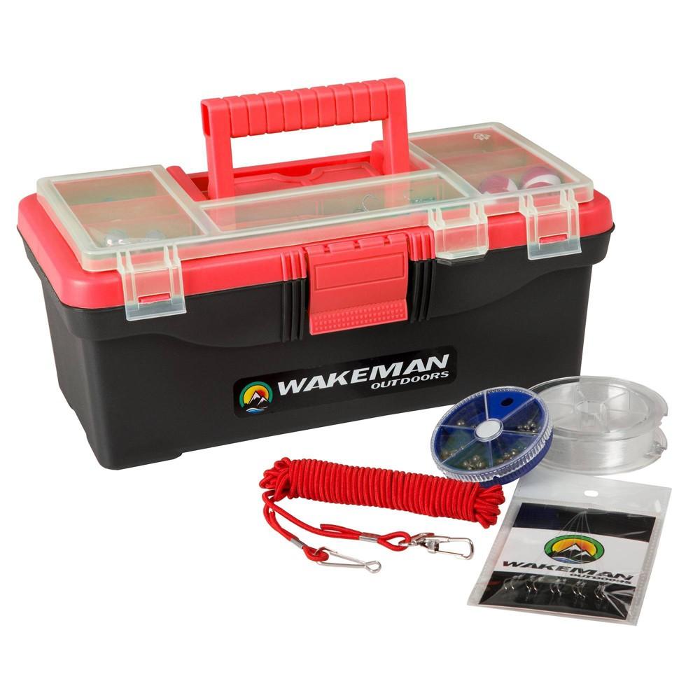 Wakeman Single Fishing Tray Tackle Box 55 pc - Red, Pink