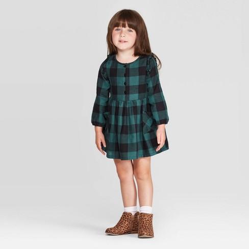 Toddler Girls' Long Sleeve Plaid Dress - Cat & Jack™ Green - image 1 of 3