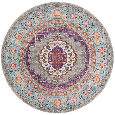 6'7 x6'7  Medallion Loomed Round Area Rug Violet/Light Blue - Safavieh