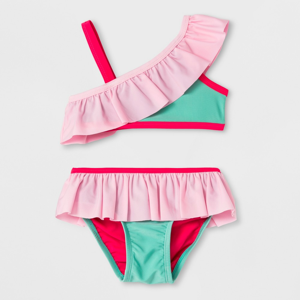 Toddler Girls' Ruffle Bikini Set - Cat & Jack Turquoise 4T, Blue