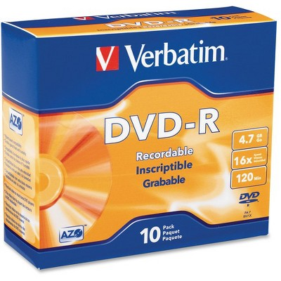 Verbatim AZO DVD-R 4.7GB 16X with Branded Surface - 10pk Slim Case - 2 Hour Maximum Recording Time