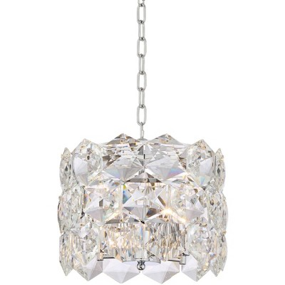 "Vienna Full Spectrum Chrome Crystal Pendant Chandelier 13 1/2"" Wide Modern 5-Light Fixture for Dining Room House Kitchen Entryway"