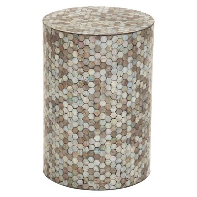 Wood and Geometric Mosaic Shell Tile Top Accent Table - Olivia & May