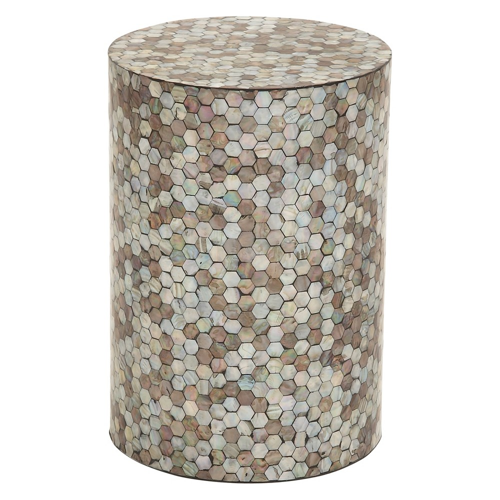 Wood and Geometric Mosaic Shell Tile Top Accent Table - Olivia & May, Multi-Colored