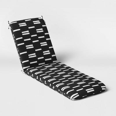 Stripe Outdoor Chaise Cushion DuraSeason Fabric™ Black/White - Project 62™