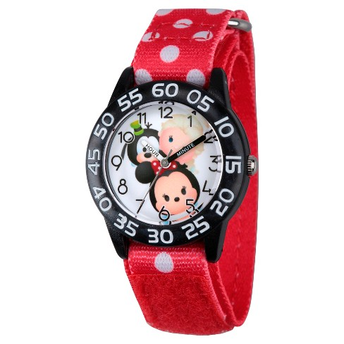 Girls' Disney Mickey Mouse-Dumbo-Mike Wazowski & Snow White Black Plastic Time Teacher Watch - Red - image 1 of 2