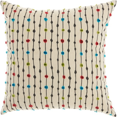 "Mina Victory 18""x18"" Embroidered Dots Throw Pillow Beige - image 1 of 3"