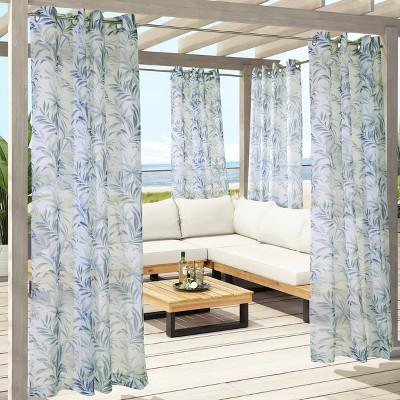 Azores Sheer Grommet Outdoor Curtain Panel Blue - Outdoor Décor
