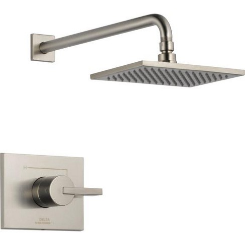 New Delta brushed nickel showerhead w// shower arm and escutcheon new in package