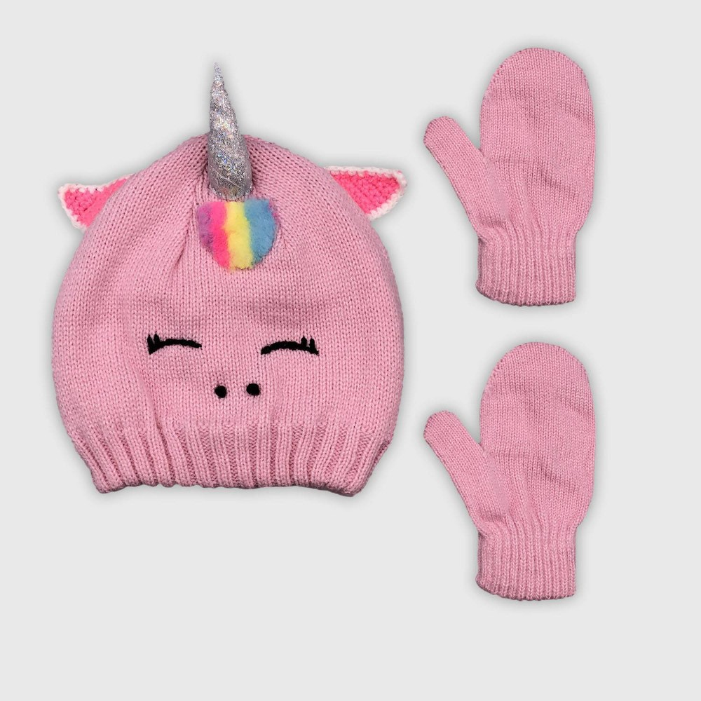 Image of Toddler Girls' Hat And Glove Set - Cat & Jack Pink 2T-5T, Girl's