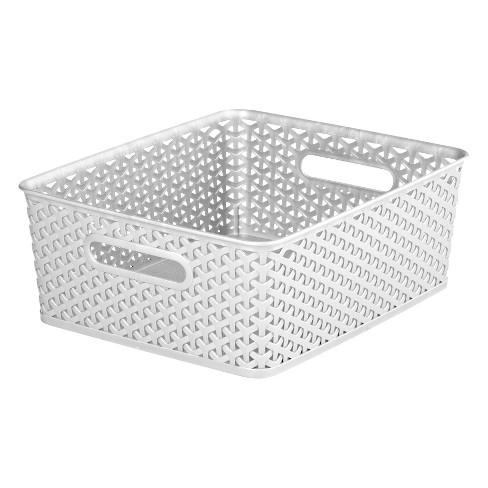 Y-Weave Medium Rectangle Storage Bin White - Room Essentials™ - image 1 of 4