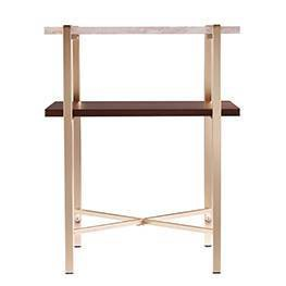 Amelia Square Faux Marble End Table with Storage Brass - Aiden Lane