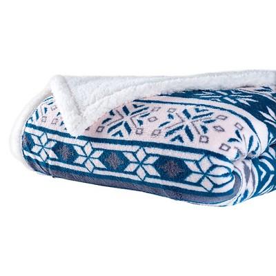Blue/White Fleece Sherpa Blanket Throw Blanket - Yorkshire Home