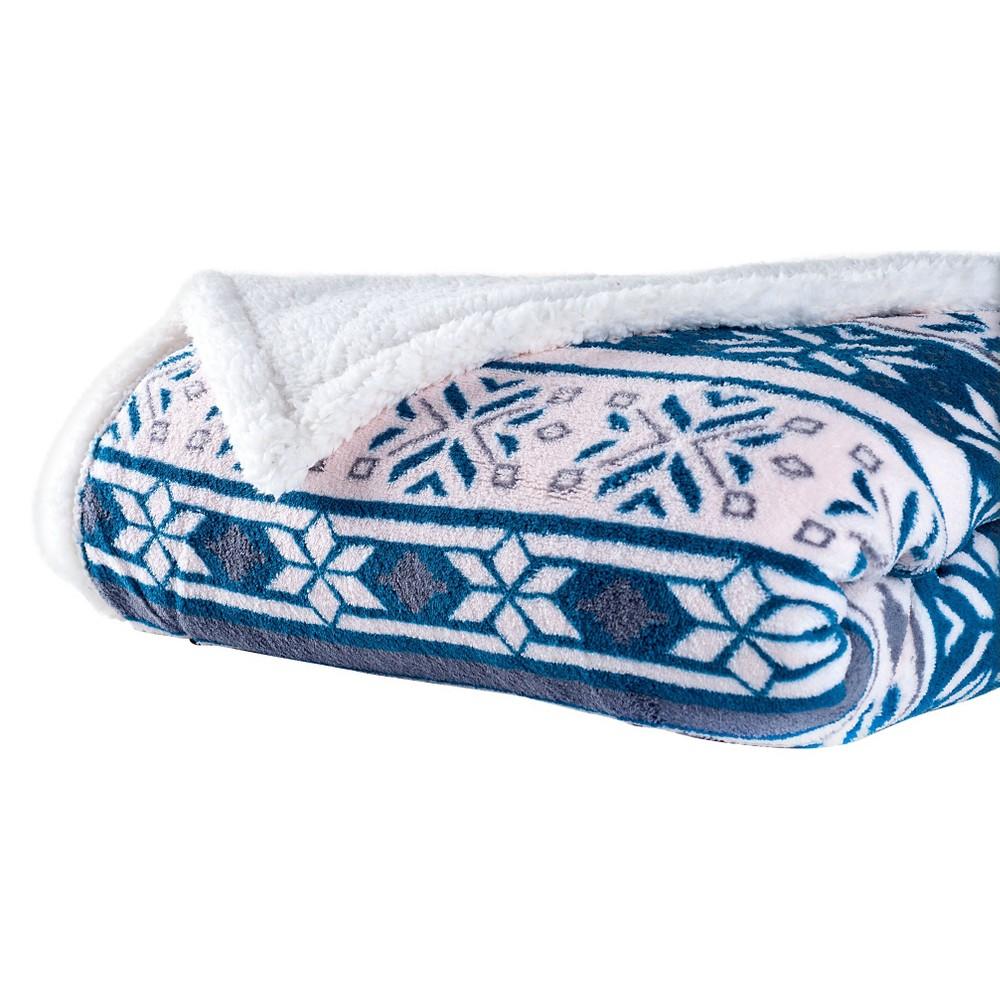 Image of Blue/White Fleece Sherpa Blanket Throw Blanket - Yorkshire Home
